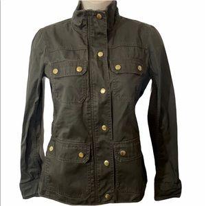 J. Crew Green Jean Jacket Gold Snaps & Zipper XXS